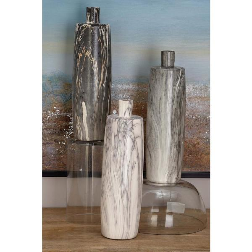 13 in. Gray Ceramic Cylindrical Decorative Vase (Set of 3)