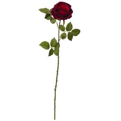 Indoor 33 in. Elegant Red Large Rose Artificial Flower (Set of 6)