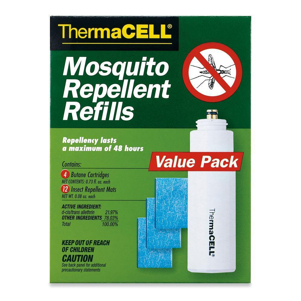 Thermacell Mosquito Repellent Refills (4-Pack) This ThermaCELL Mosquito Repellent Refills (16-Pack) contain 4 butane cartridges and 12 repellent mats. Each cartridge works for up to 12 hours to provide a total of 48 hours of repelling power. They will repel mosquitoes, black flies and no-see-ums so you can enjoy your outdoor activities.