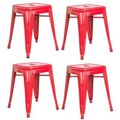 Loft Style 18 in. Stackable Metal Bar Stool in Red (Set of 4)