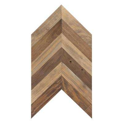 French Riviera 1/4 in. x 12 in. x 1.9 ft. Pine Solid Hardwood Weathered Chevron Wall Plank