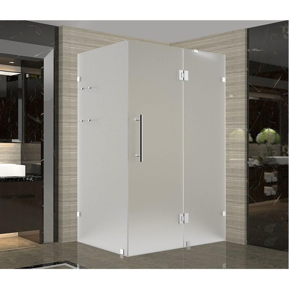 Aston Avalux GS 38 in. x 36 in. x 72 in. Frameless Shower Enclosure with Frosted Glass and Shelves in Stainless Steel