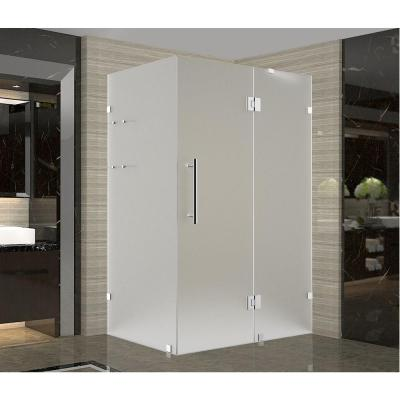 Avalux GS 38 in. x 38 in. x 72 in. Frameless Hinged Shower Enclosure with Frosted Glass and Shelves in Stainless Steel