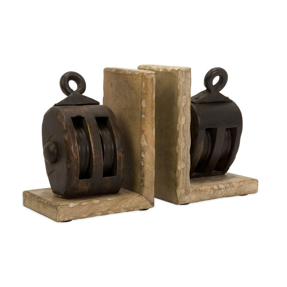 Home Decorators Collection Pulley Brown Bookends (Set of 2)