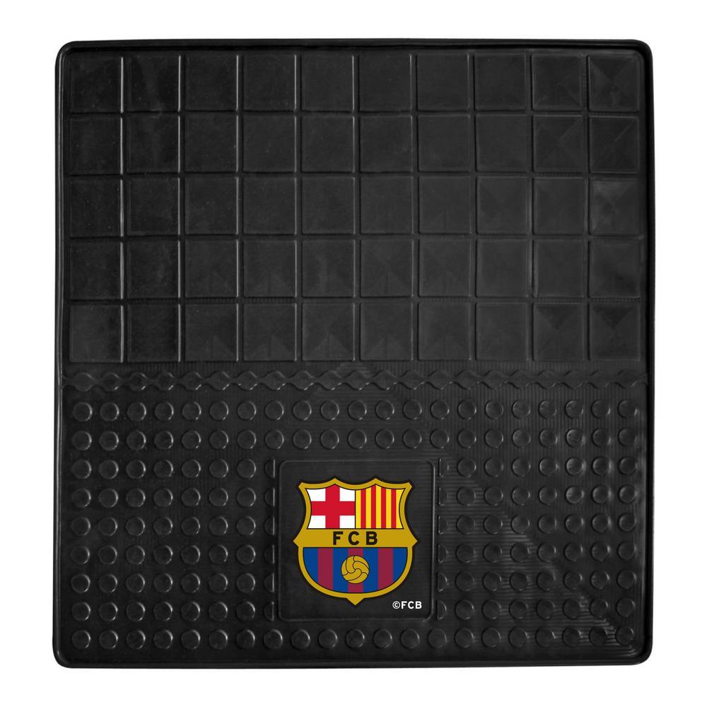 FC Barcelona Black 31 in. x 31 in. Heavy Duty Vinyl Cargo Mat