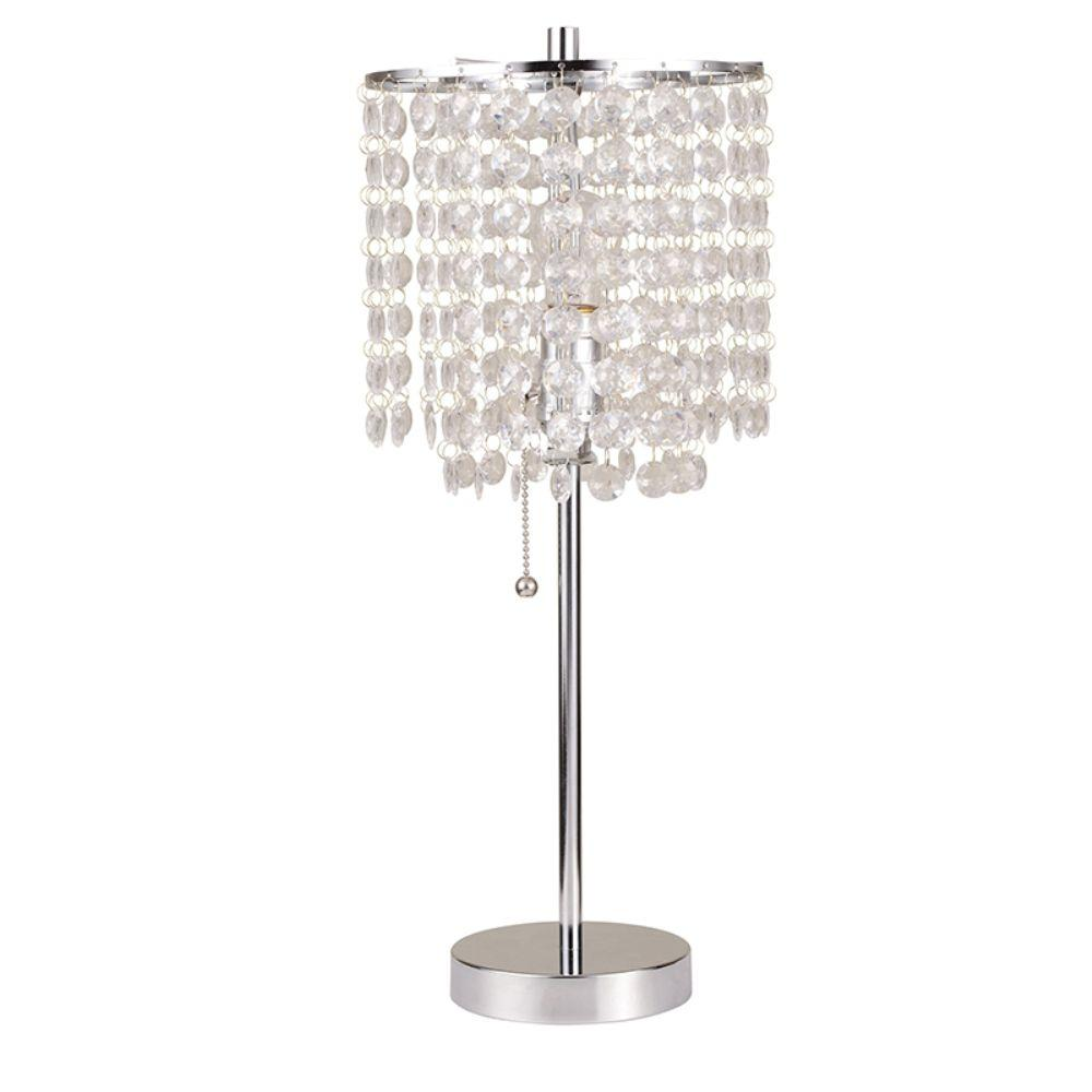 Ore International 20 25 In Chrome Deco Glam Table Lamp
