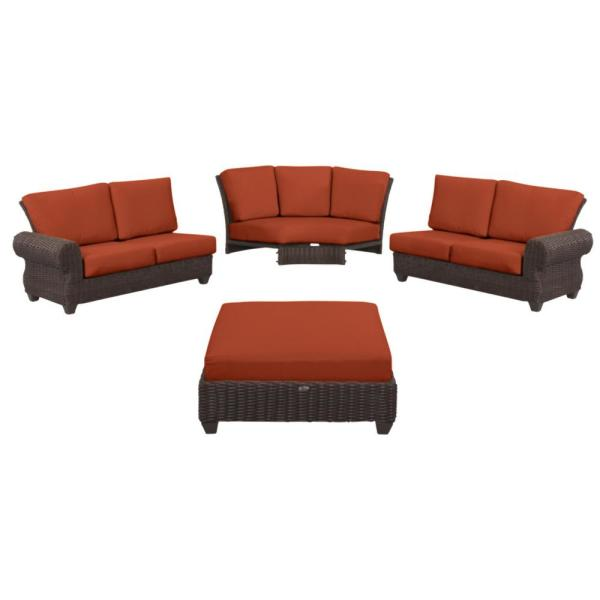 Mill Valley 4-Piece Brown Wicker Outdoor Patio Sectional Sofa Set with CushionGuard Quarry Red Cushions