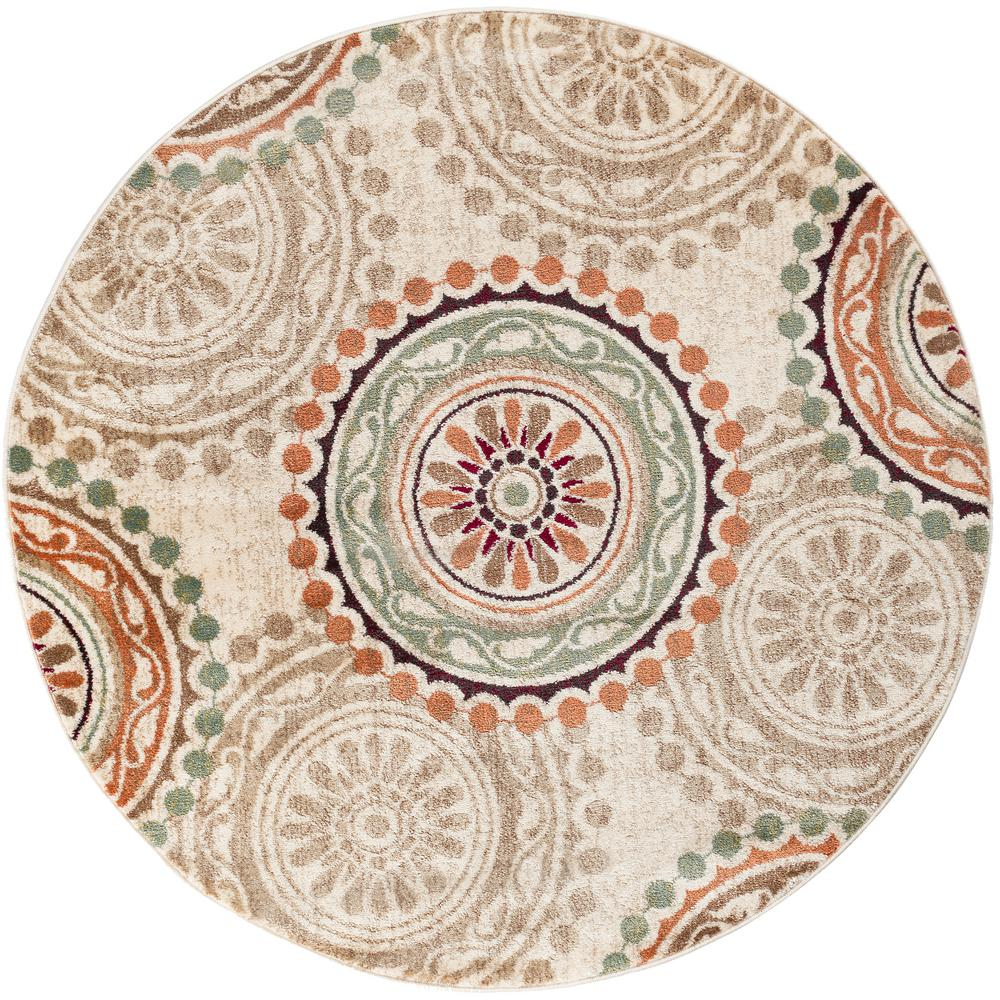 Tayse Rugs Deco Ivory 5 ft. 3 in. Transitional Round Area Rug