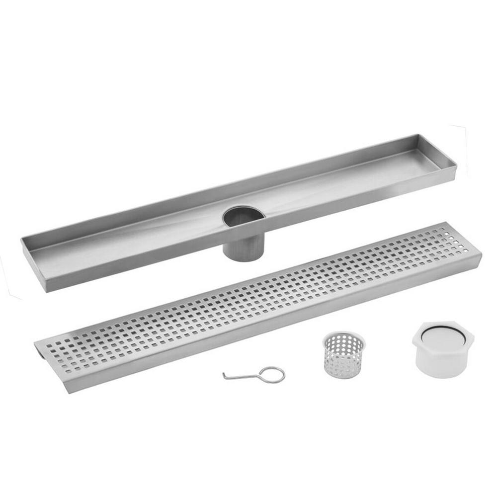 Cahaba 30 in  Stainless Steel Square Grate Linear Shower Drain
