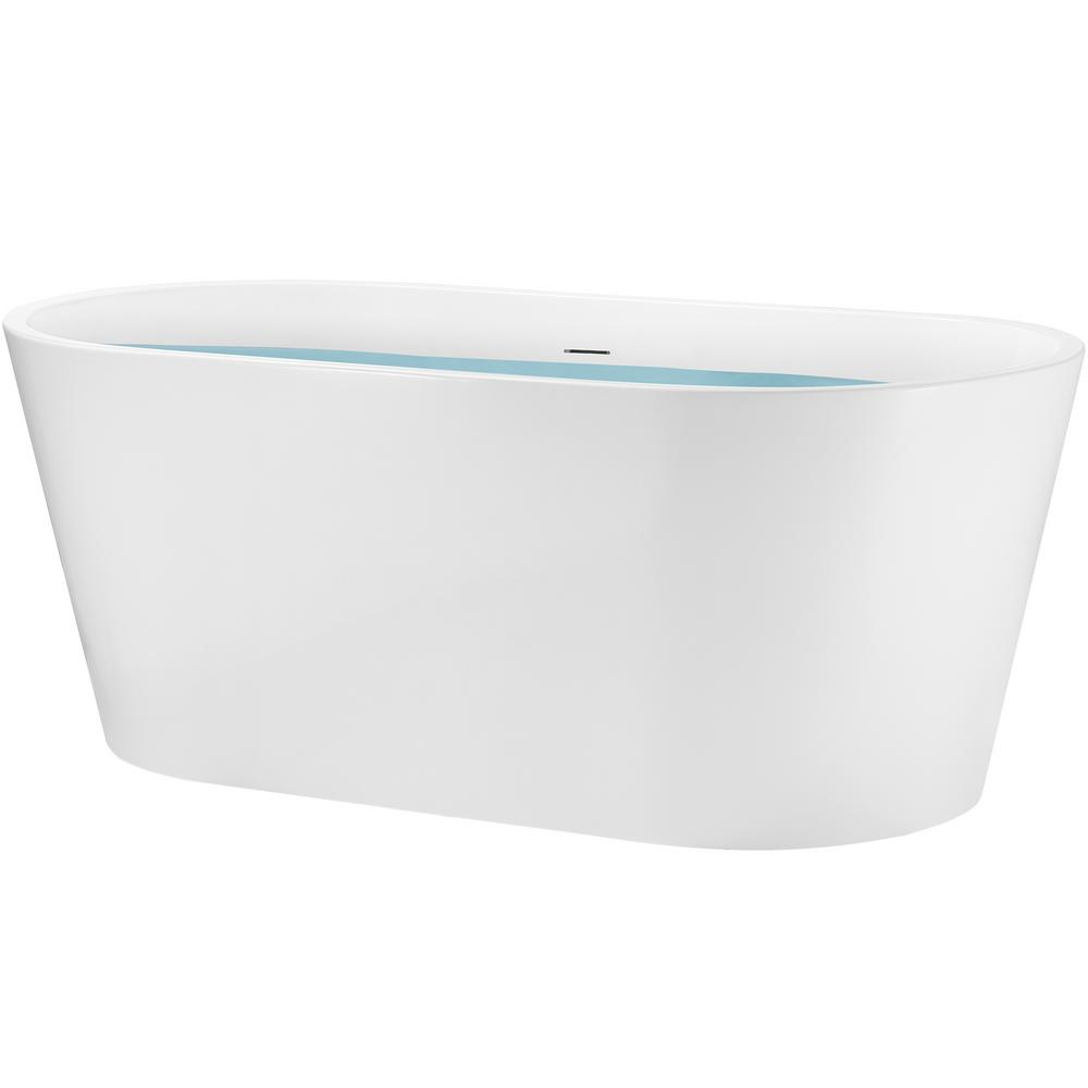 Akdy 67 In Acrylic Center Drain Oval Flatbottom Freestanding Bathtub In White With Overflow Bt0088 The Home Depot