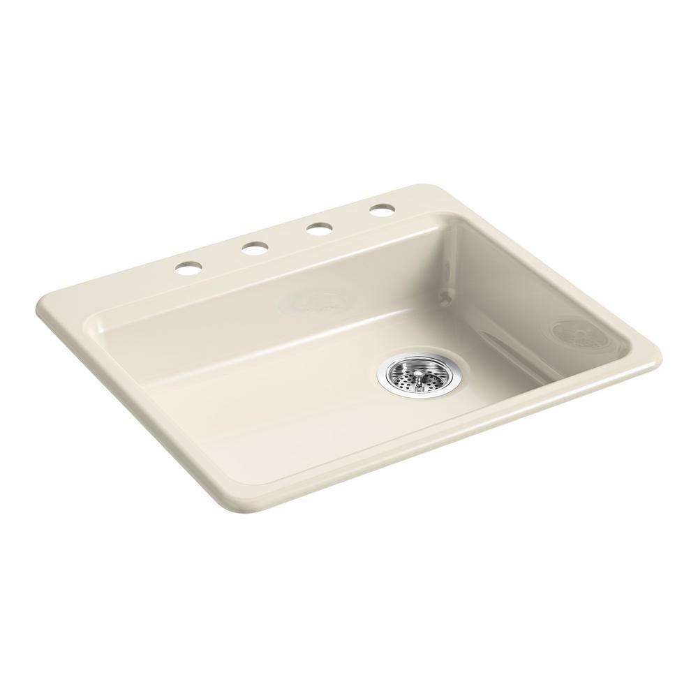kohler riverby drop in cast iron 25 in 4 hole single bowl kitchen sink in almond k 5479 4 47. Black Bedroom Furniture Sets. Home Design Ideas