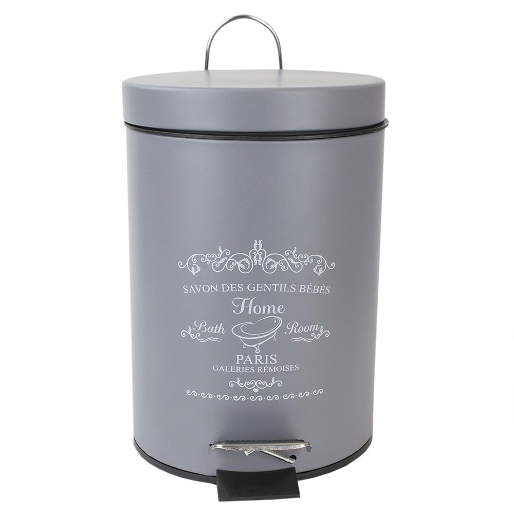 Paris 0.79 Gal. Grey Round Step-On Metal Trash Can