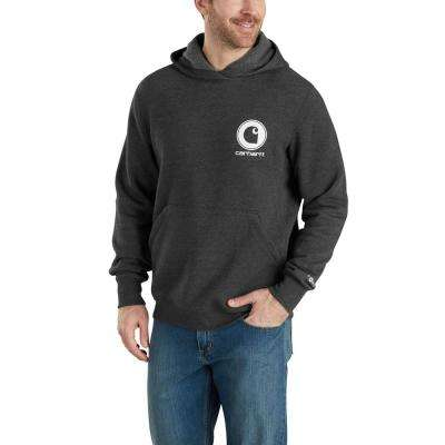 Men's Small Black Heather Cotton/Polyester Force Delmont Graphic Hooded Sweatshirt
