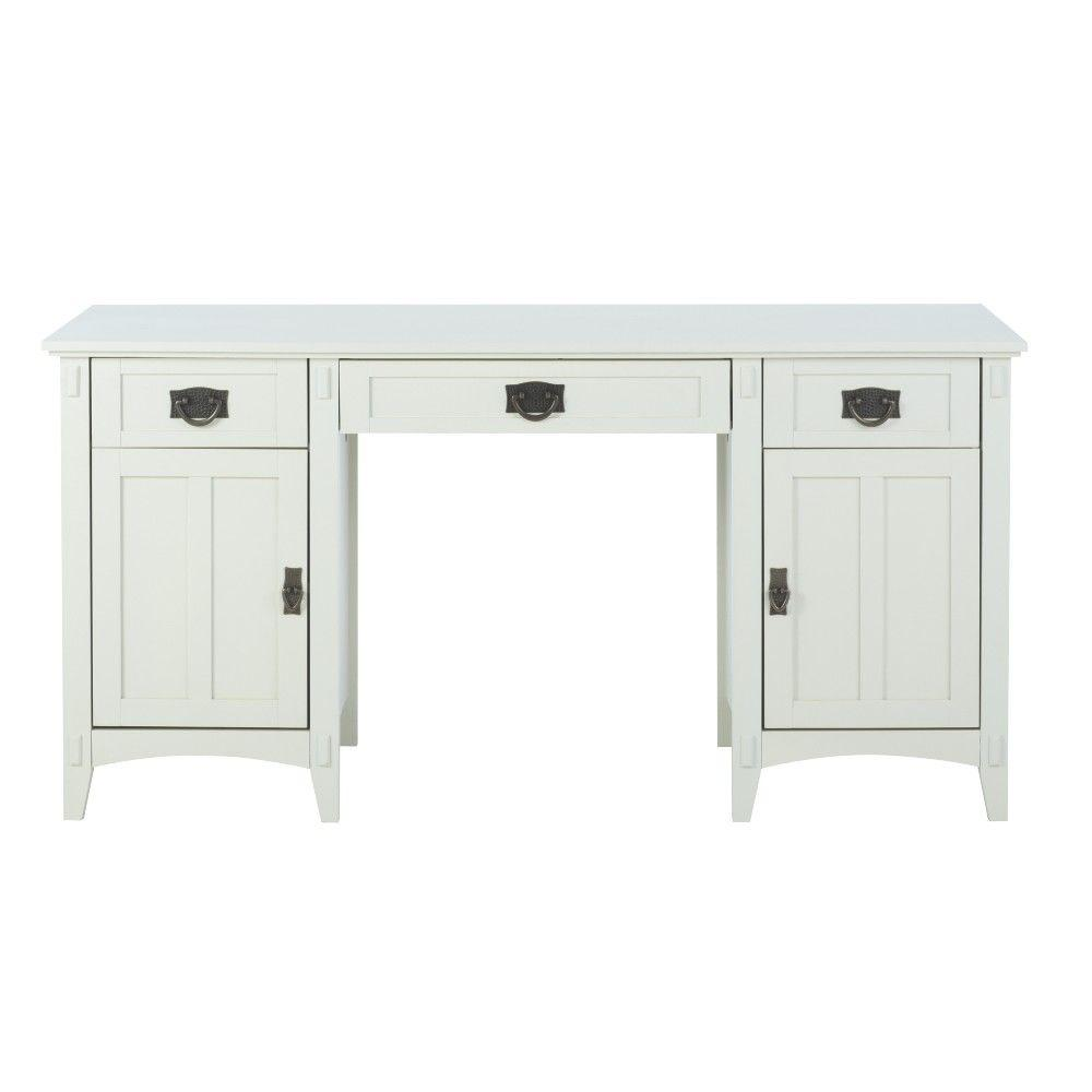 Home Decorators Collection Artisan White Executive Desk With Storage