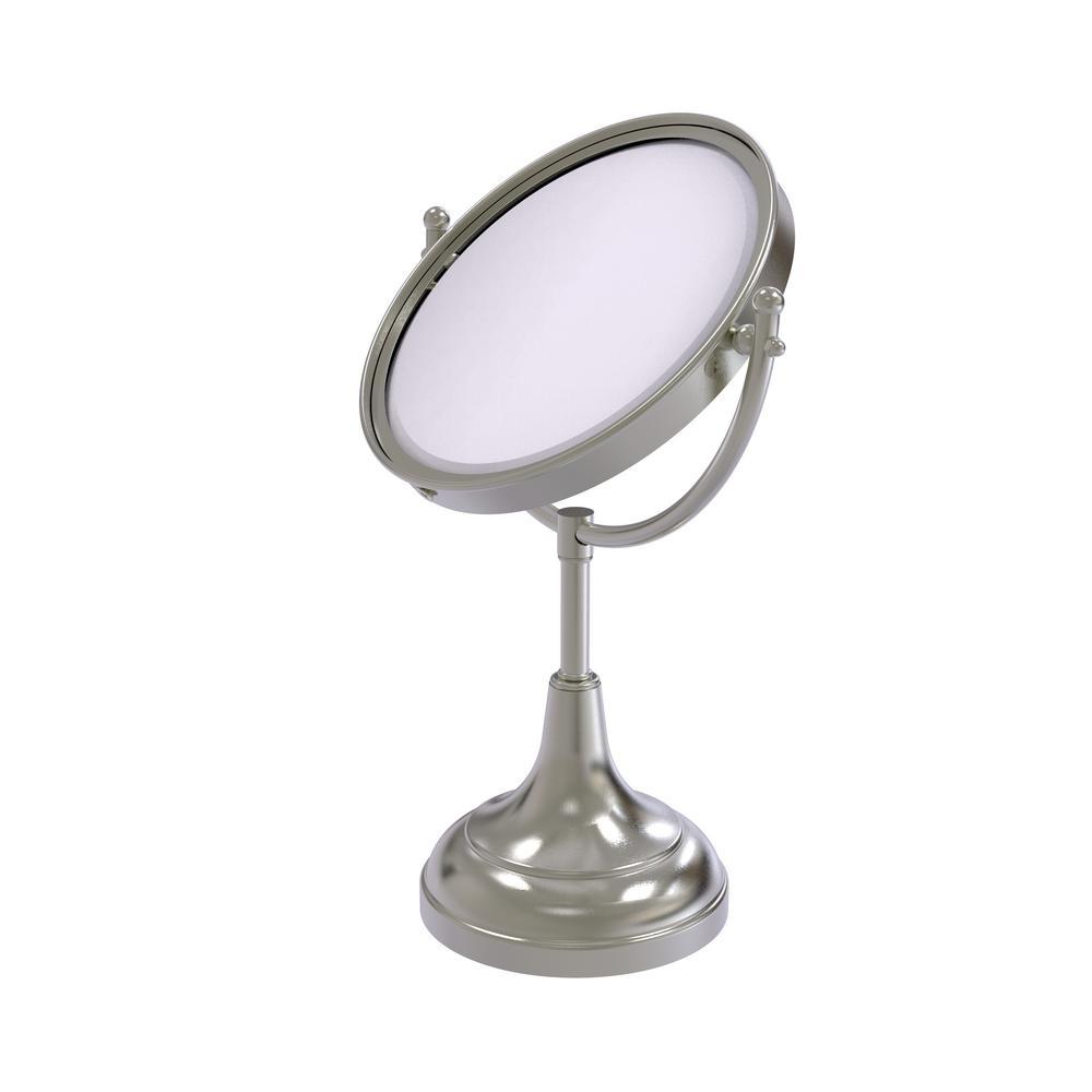 15 in. x 8 in. Vanity Top Make-Up Mirror 4x Magnification in Satin Nickel