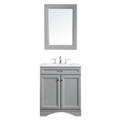 Naples 30 in. W x 22 in. D x 36 in. H Vanity in Grey with Marble Vanity Top in White with White Basin and Mirror