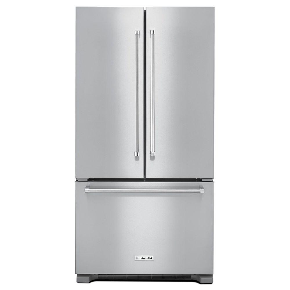 Kitchenaid 21 9 Cu Ft French Door Refrigerator In Stainless Steel Counter Depth
