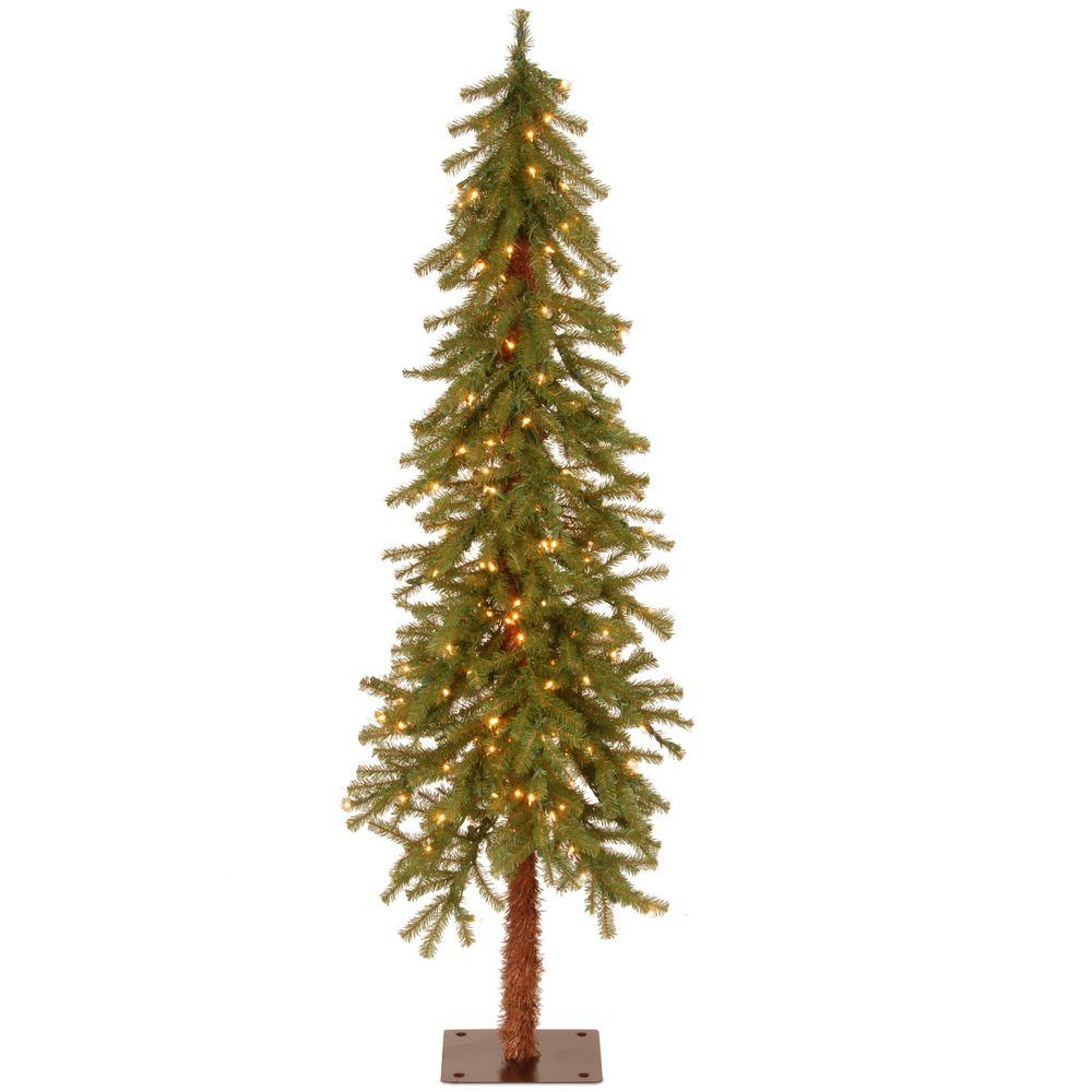 National tree company 5 ft hickory cedar artificial for Lit national