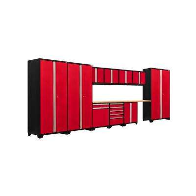 Pro 3 Series 85 in. H x 220 in. W x 24 in. D 18-Gauge Welded Steel Bamboo Worktop Cabinet Set in Red (12-Piece)