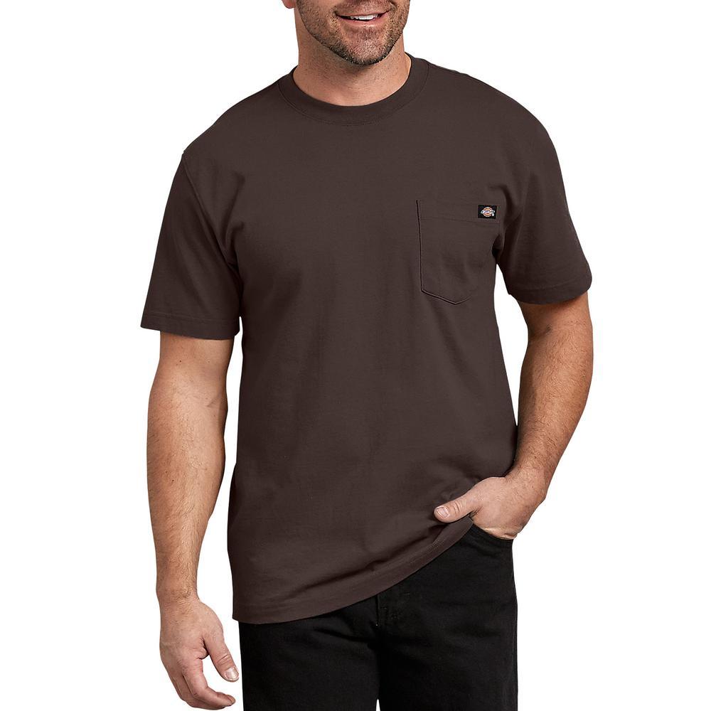 258b951a Dickies Men's Chocolate Brown Short Sleeve Heavyweight T-Shirt ...