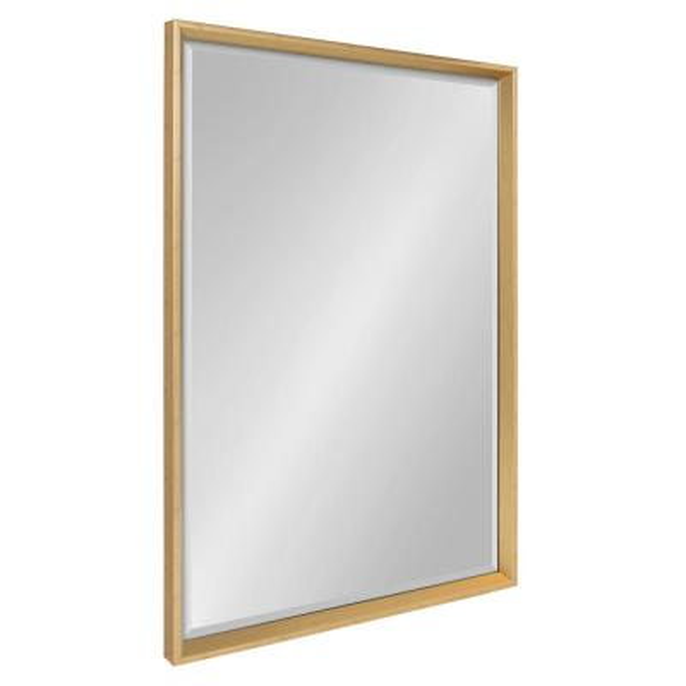 Calter 23.5 in. W x 35.5 in. H Framed Rectangular Beveled Edge Bathroom Vanity Mirror in Gold