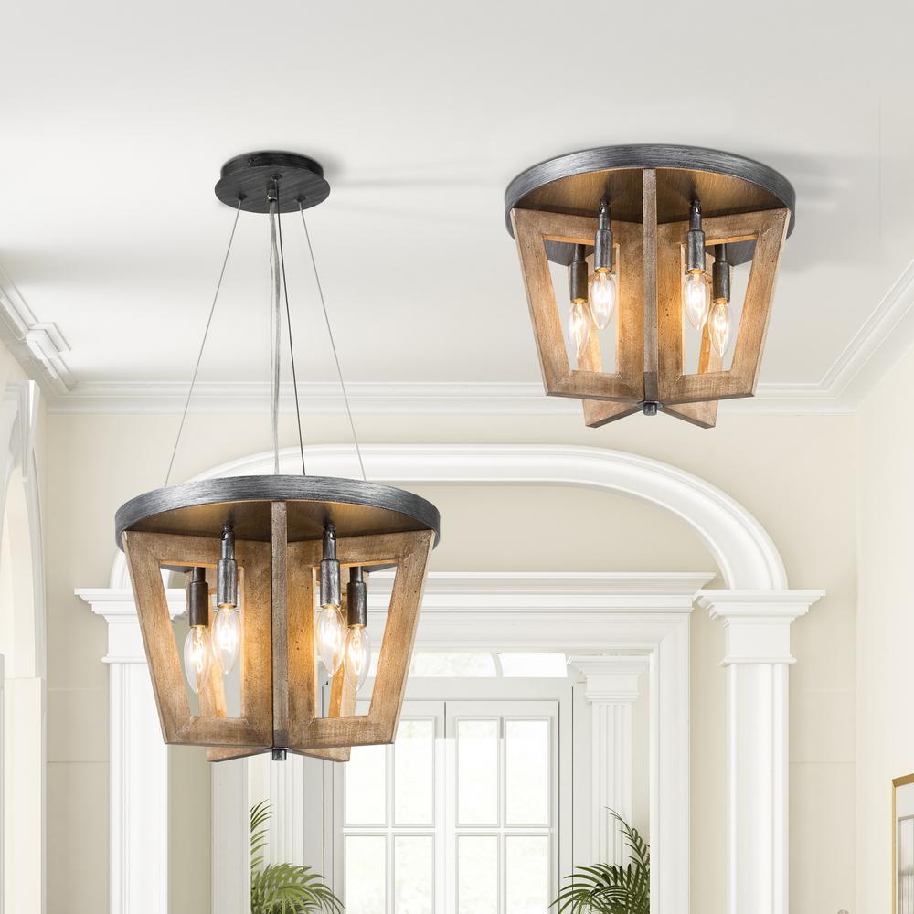 Adam Farmhouse 4-light Black Weathered Wood Drum Open Cage Island Pendant LED Compatible Semi-flush Mount Convertible