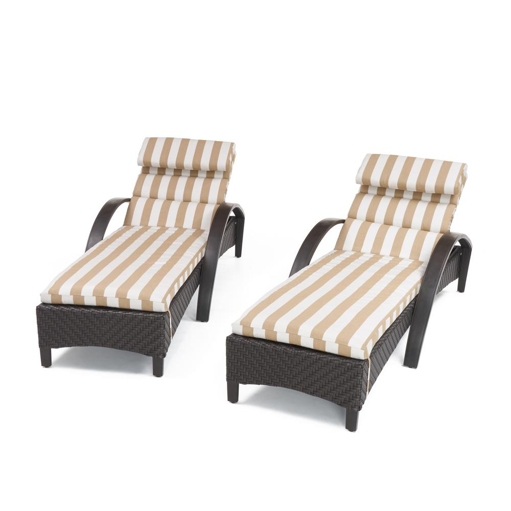 RST Brands Barcelo 2-Piece Wicker Outdoor Chaise Lounge with Sunbrella Maxim Beige Cushions