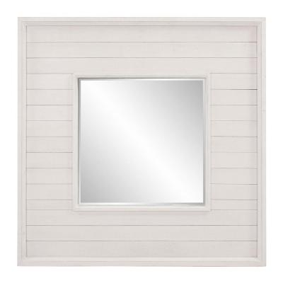 36 in. H x 36 in. W Home Decorators Collection Square Framed Antiqued White Accent Mirror