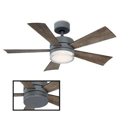 Wynd 42 in. LED Indoor/Outdoor Graphite 5-Blade Smart Ceiling Fan with 2700K Light Kit and Wall Control