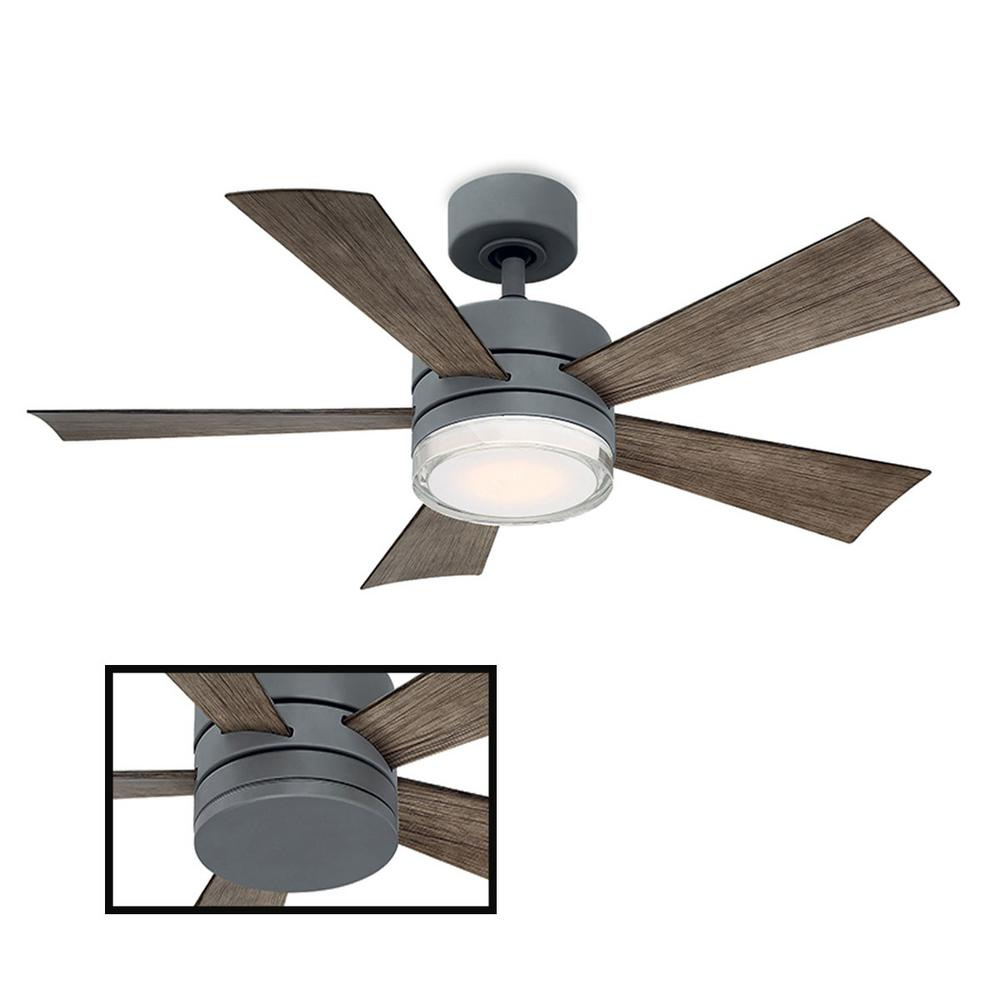 Modern Forms Wynd 42 in. LED Indoor/Outdoor Graphite 5-Blade Smart Ceiling Fan with 3000K Light Kit and Wall Control