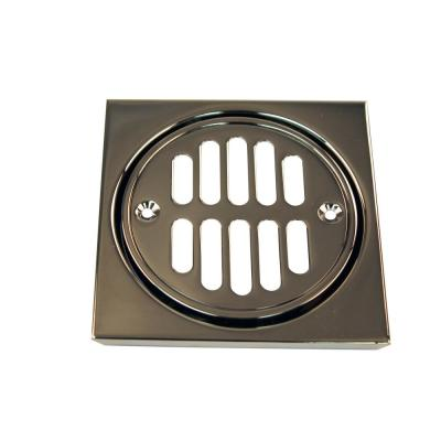 4-1/4 in. x 4-1/4 in. Shower Strainer Set Square with Crown in Polished Chrome