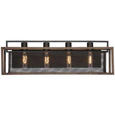Rio Lobo 4-Light Dark Oak with Black Bath Light