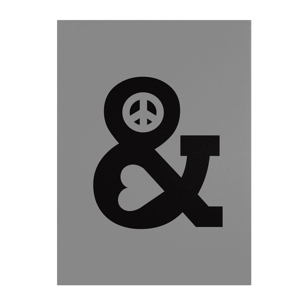 null 47 in. x 35 in. Peace and Love Mono Canvas Art