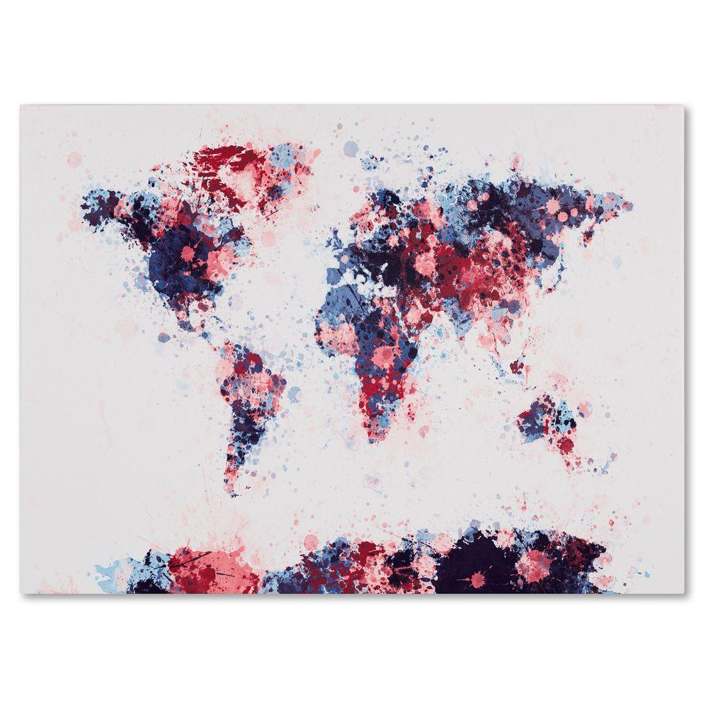 "16 in. x 24 in. ""Paint Splashes World Map 3"" Canvas"