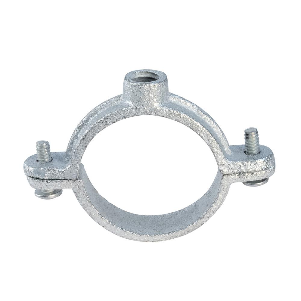 The Plumber's Choice 2 in  2-Piece Split Ring Pipe Hanger in Galvanized  Malleable Iron