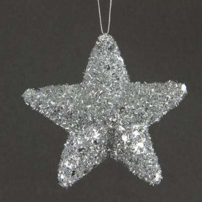 140 mm Christmas Glitter Star Ornament with Hanger Color in Silver (10-Set)