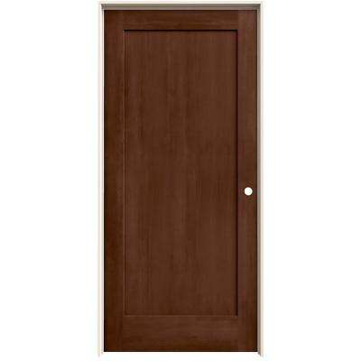 36 in. x 80 in. Madison Milk Chocolate Stain Left-Hand Molded Composite MDF Single Prehung Interior Door