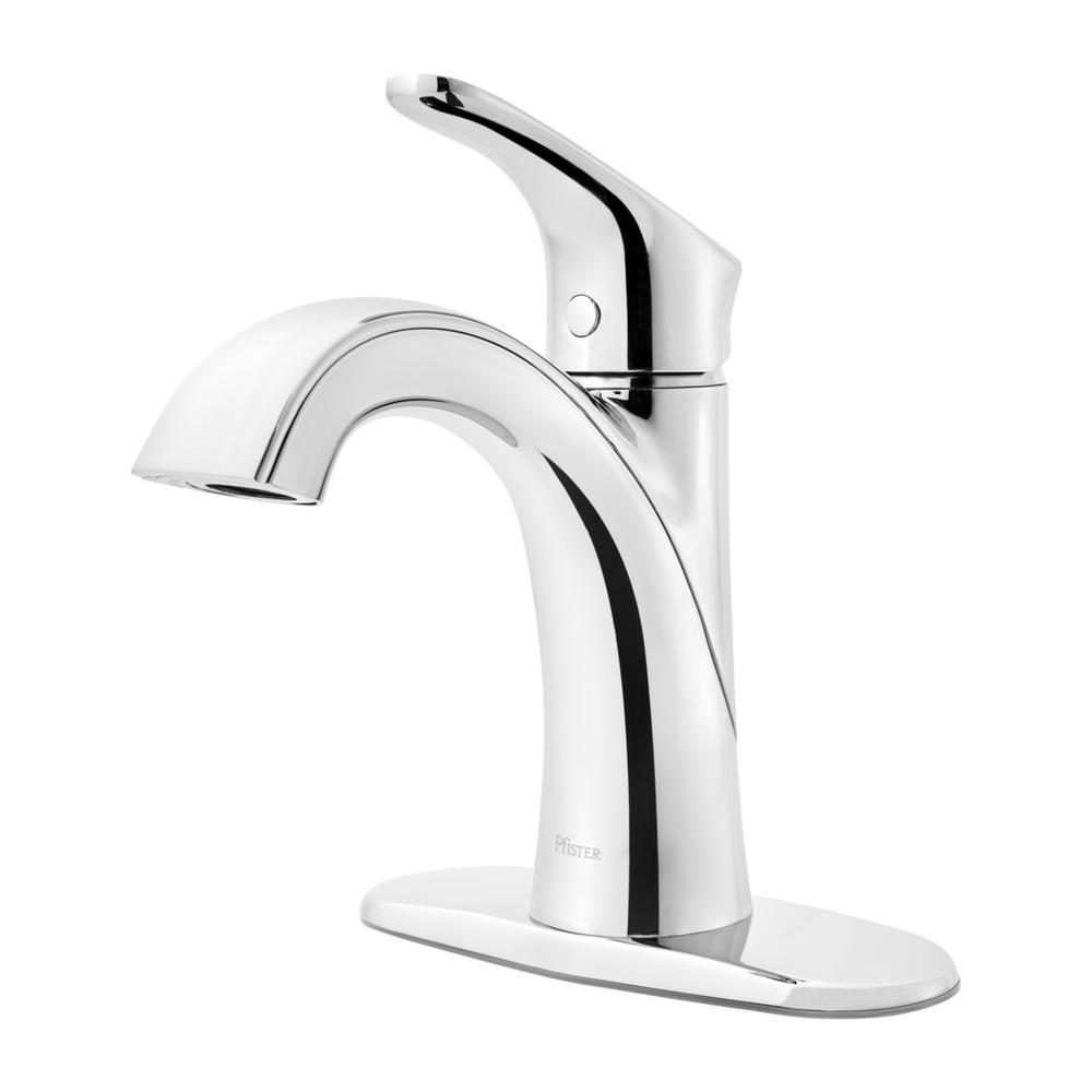 Pfister Weller Single Hole Handle Bathroom Faucet In Polished Chrome