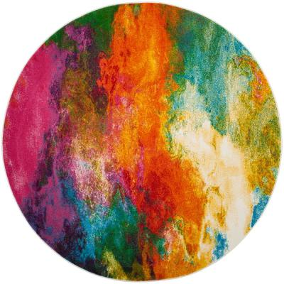 Watercolor Orange/Green 5 ft. x 5 ft. Round Area Rug