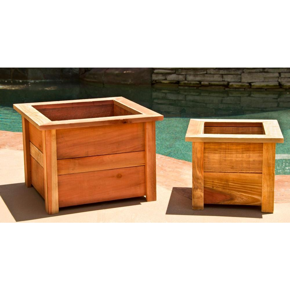 Large Redwood Planter Box For Tomatoes: 22 In Square Planter Box Outdoor Patio Pot Plant Redwood