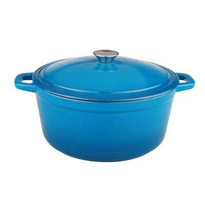 Neo 5 Qt. Blue Oval Cast Iron Casserole Dish with Lid