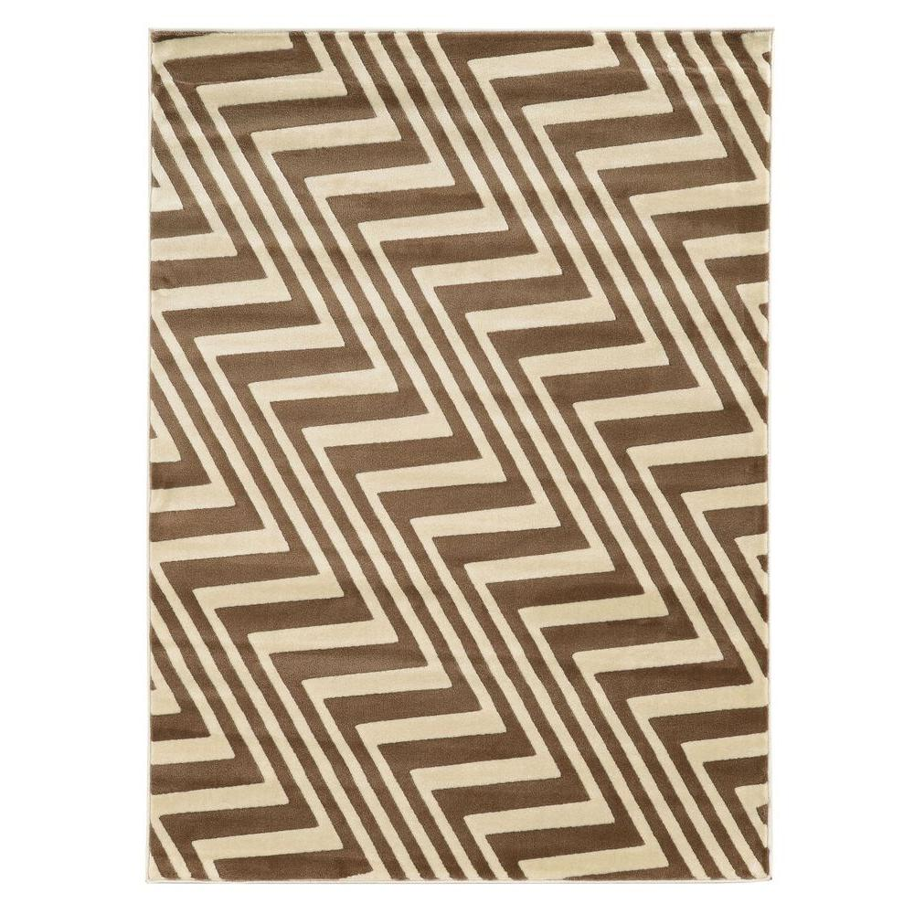 Linon Home Decor Roma Collection ZigZag Ivory and Beige 8 ft. x 10 ft. Indoor Area Rug