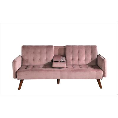 Carrington 72 in. Rose Velvet 2-Seater Twin Sleeper Convertible Sofa Bed with Tapered Legs
