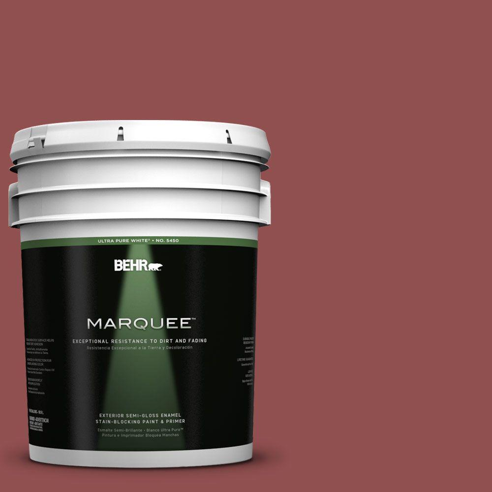 BEHR MARQUEE 5-gal. #PPU1-8 Pompeian Red Semi-Gloss Enamel Exterior Paint