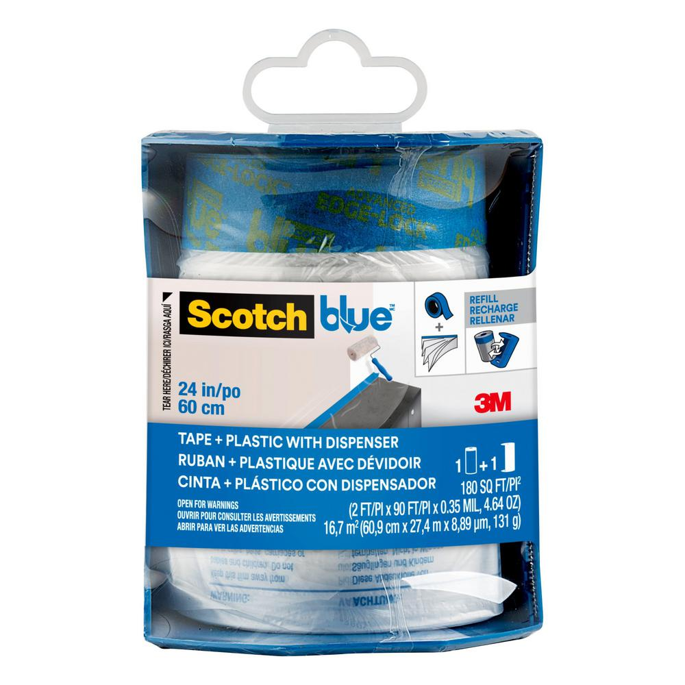 3M ScotchBlue 24 in. x 30 yd. Pre-Taped Painter's Plastic with Edge-Lock and Dispenser