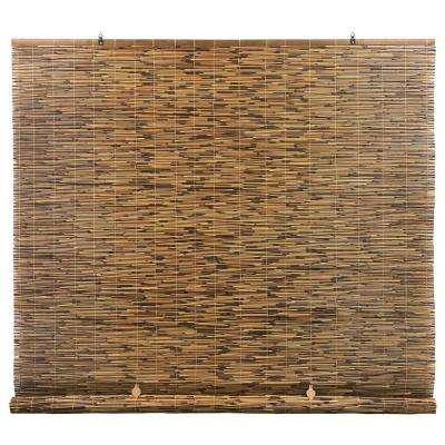 Cocoa Cord-Free Interior/Exterior Peeled and Polished Reed Manual Roll-Up Shade 72 in. W x 72 in. L