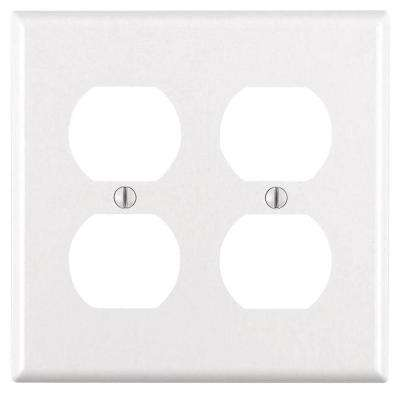 2-Gang Standard Size Duplex Outlet Wallplate, White