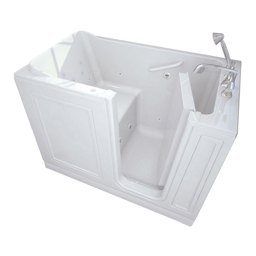 American Standard Acrylic Standard Series 51 in. x 30 in. Walk-In Whirlpool Tub with Quick Drain in White