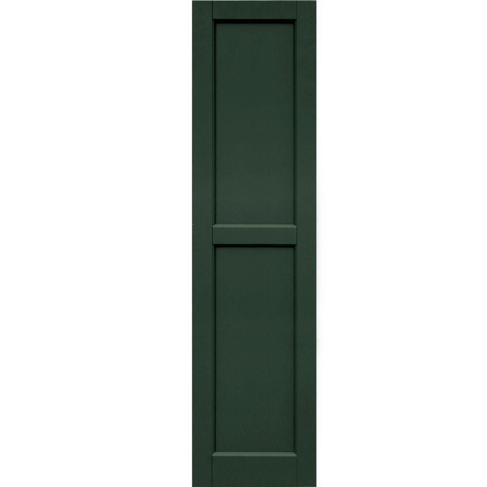 Winworks Wood Composite 15 in. x 59 in. Contemporary Flat Panel Shutters Pair #656 Rookwood Dark Green