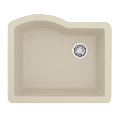 Undermount Quartz Composite 24 in. Single Bowl Kitchen Sink in Bisque